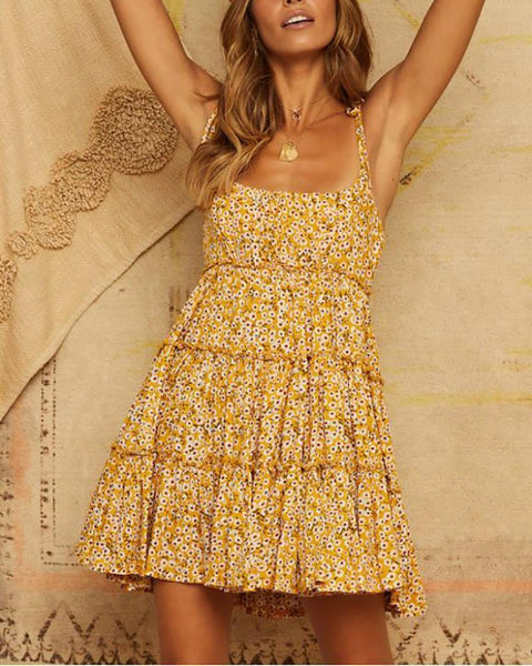 Sling Printed Holiday Short Dress