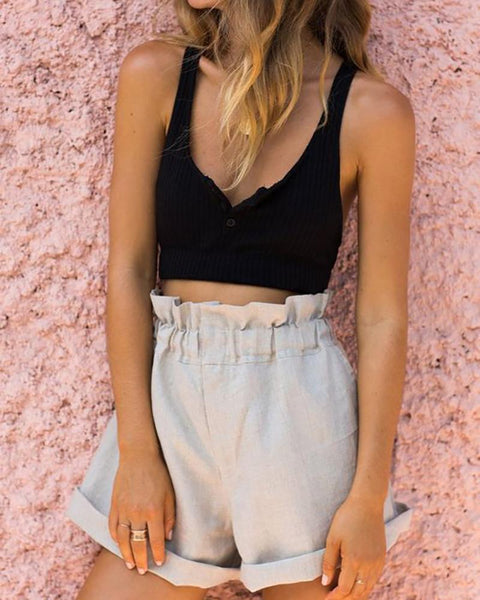 Strap Lace Shorts Suit