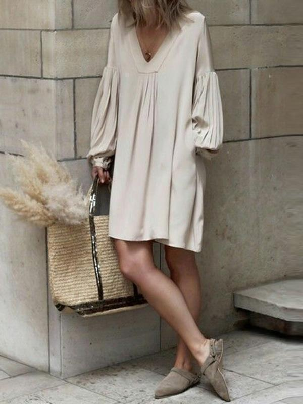 V Neck Pleated Lantern Sleeve  Plain Casual Dress