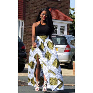African Print White, Gold and Black Slit Maxi Skirt - African Print London