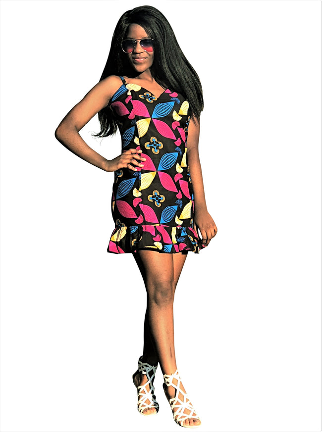 African Print Black, Pink and Blue Bodycon Dress - African Print London