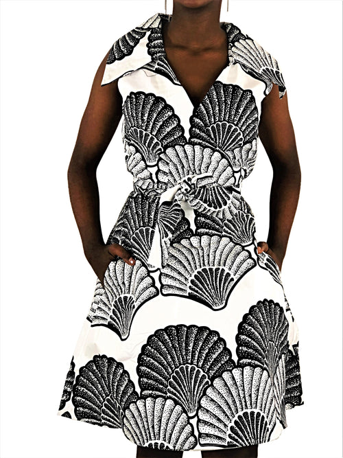 African Print Black and White Wrap Dress - African Print