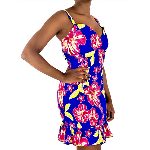 African Print Blue, Pink and Yellow Bodycon Dress - African Print