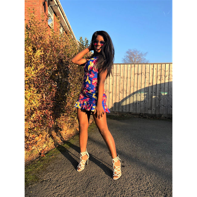 African Print Blue, Pink and Yellow Bodycon Dress