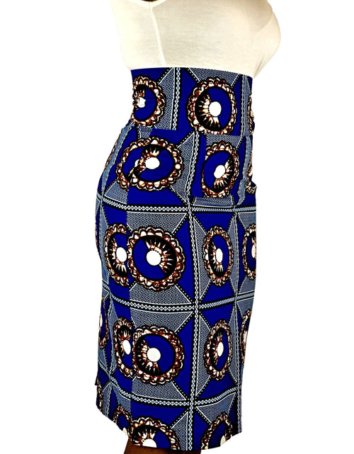 African Print Blue, Black and Brown High Waist Pencil Skirt - African Print