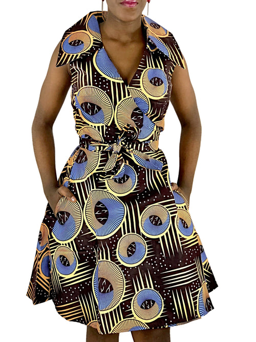 African Print Brown, Blue and Peach Wrap Dress - African Print London