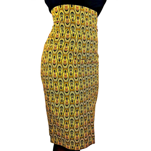African Print Gold, Brown and White High Waist Pencil Skirt - African Print