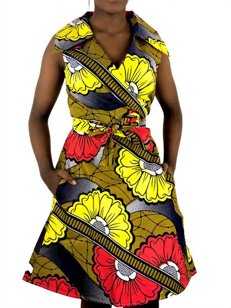 African Print Navy-Blue, Blue and Orange Wrap Dress