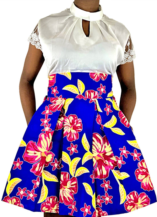 African Print Blue, Pink and Yellow High Waist Skirt - African Print