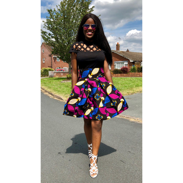 African Pleated Skirt - African Print