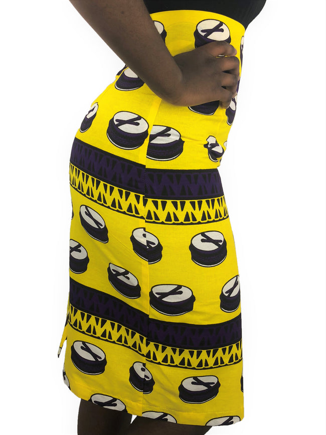 African Print Yellow, Purple and White High Waist Pencil Skirt - African Print London