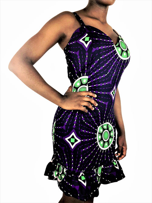 African Print Navy, Purple and Green Bodycon Dress - African Print