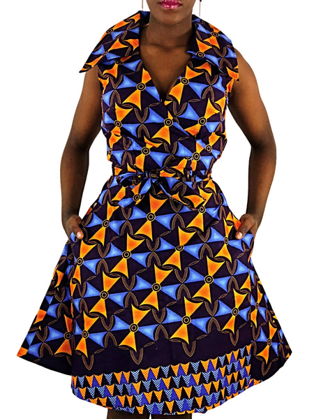 African Print Navy-Blue, Blue and Orange Wrap Dress - African Print London