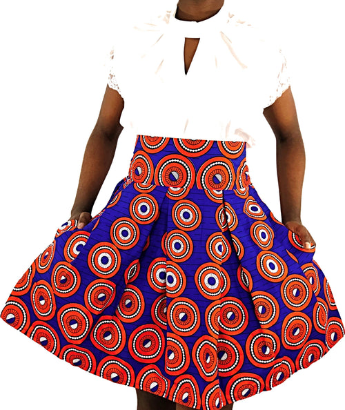 African Print Blue, Orange and White High Waist Skirt - African Print