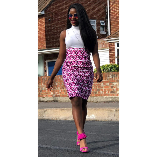 African Print Pink, White and Blue High Waist Pencil Skirt - African Print London