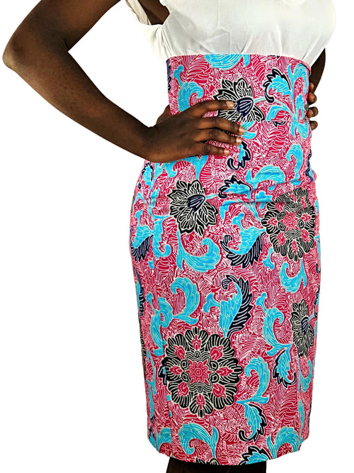 African Print Pink, Black and Blue High Waist Pencil Skirt - African Print