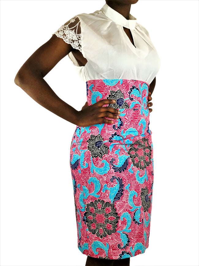 African Print Pink, Black and Blue High Waist Pencil Skirt - African Print London