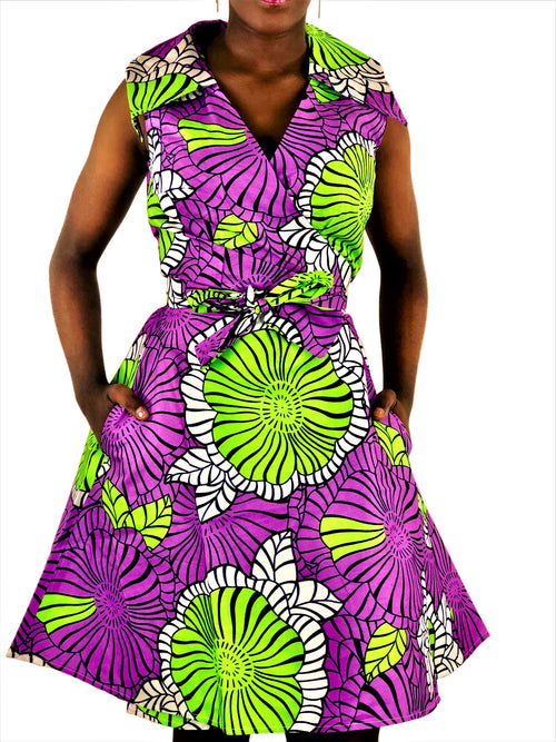 African Print Lilac, Green and White Wrap Dress - African Print