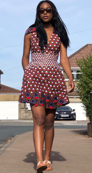 African Print White, Red and Gold Wrap Dress - African Print Dress London