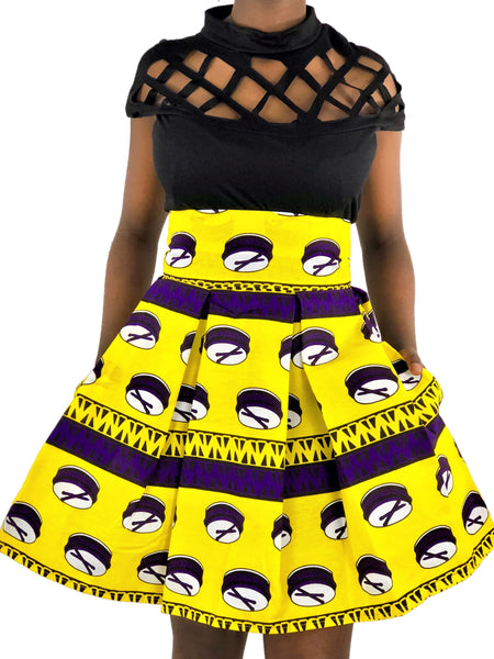 African Print Yellow, Purple and White High Waist Skirt - African Print