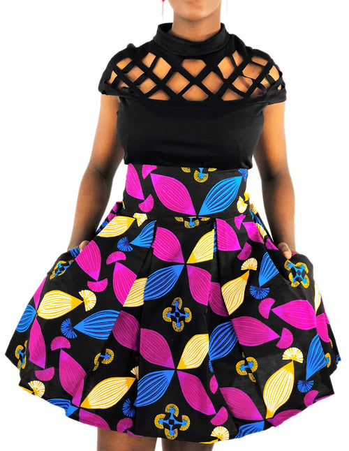 African Print Black, Pink and Blue High Waist Skirt - African Print
