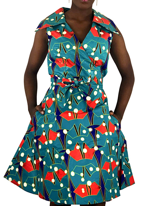 African Print Green, Red and Blue Wrap Dress - African Print