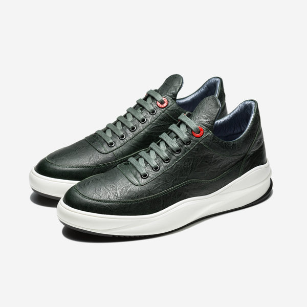 Embossing Lace-Up Sneakers Green - Top Sneakers - OPP Official Store (OPP France)