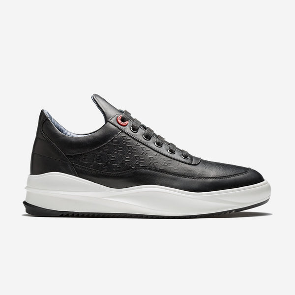 Embossing Lace-Up Sneakers Black - Top Sneakers - OPP Official Store (OPP France)