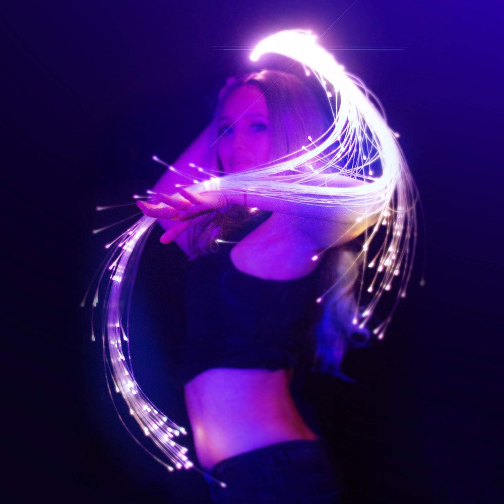Multicolor LED Fiber Optic Whip