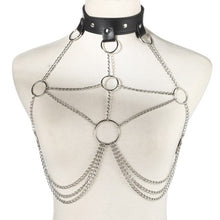 Silver Body Chain Necklace with Black Collar