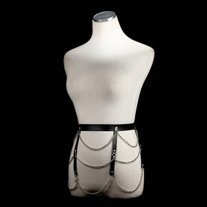 Punk Leather chain harness Bondage Waist Chain belt belly Rock  body Jewelry festival outfit club party summer accessories