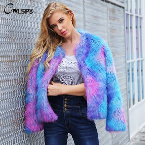 Long Sleeve Cardigan Faux Fur Coat