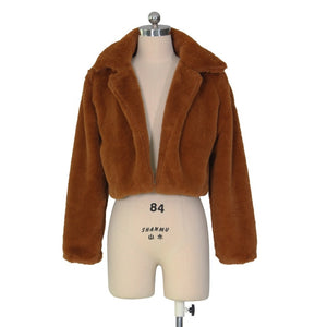 Fluffy Faux Fur Coat with Collar