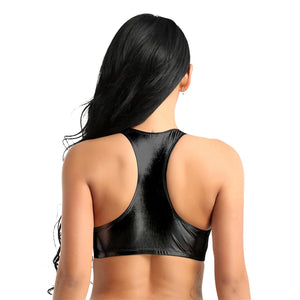 Shiny Faux Leather Crop Top