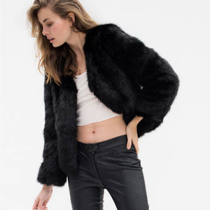 Faux Fur Coat with Long Sleeves