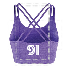 Load image into Gallery viewer, WOMENS - FITNESS CROP TOP - CROSS BACK - PURPLE (Mid logo)