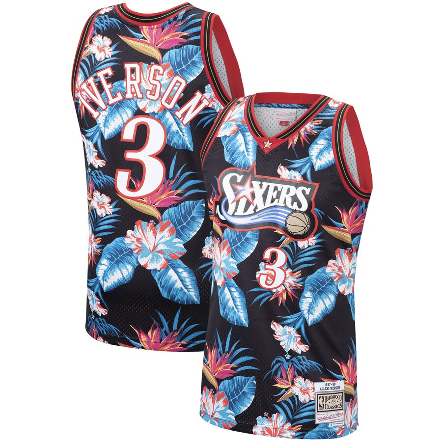 buy popular 7ccc6 1490a Mitchell & Ness #3 Allen Iverson Philadelphia 76ers Hardwood Classics  Floral Throwback Jersey