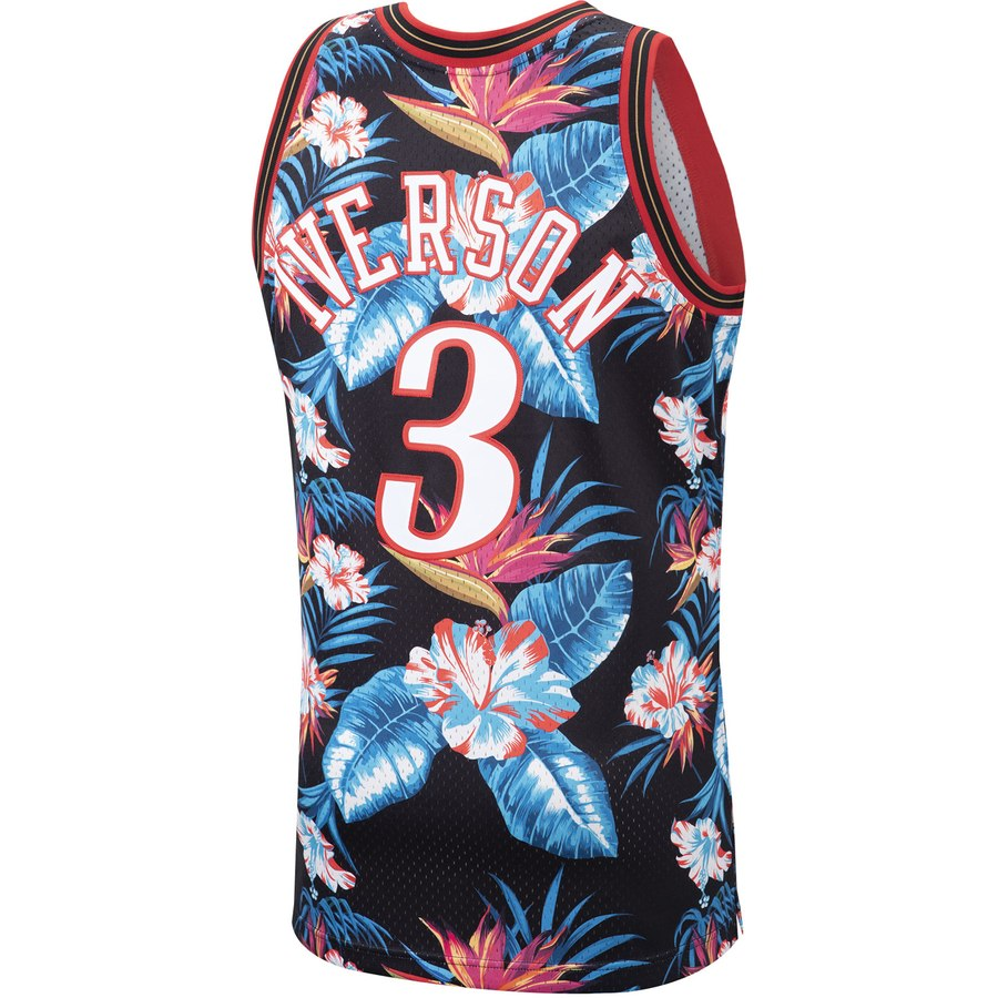 buy popular f99f8 c24c9 Mitchell & Ness #3 Allen Iverson Philadelphia 76ers Hardwood Classics  Floral Throwback Jersey
