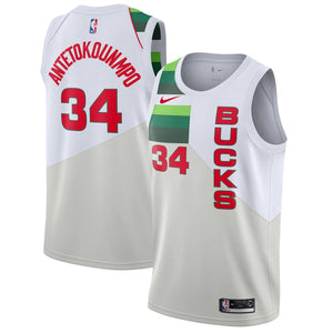 uk availability 635df f6d65 Nike Milwaukee Bucks #34 Giannis Antetokounmpo Basketball Jersey - Earned  Edition