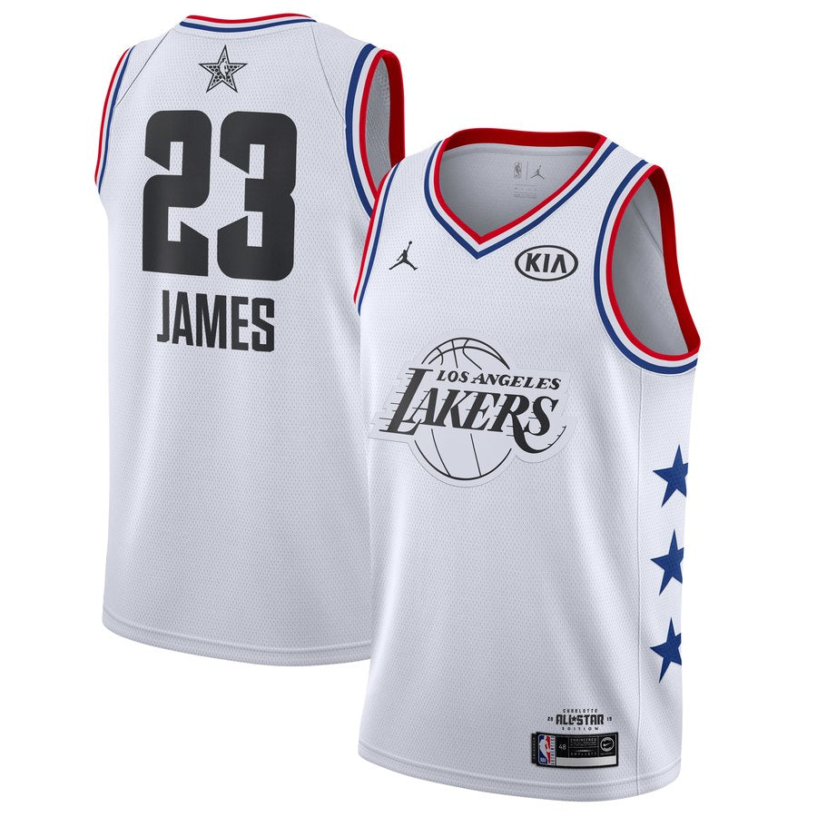 superior quality cf4ee 57b2c All star Jordan 2019 Los Angeles Lakers #23 LeBron James Basketball Jersey  White
