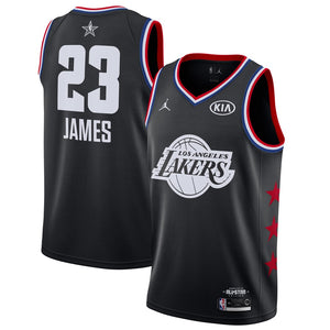 online retailer eda05 37a14 All star Jordan 2019 Los Angeles Lakers #23 LeBron James Basketball Jersey  Black