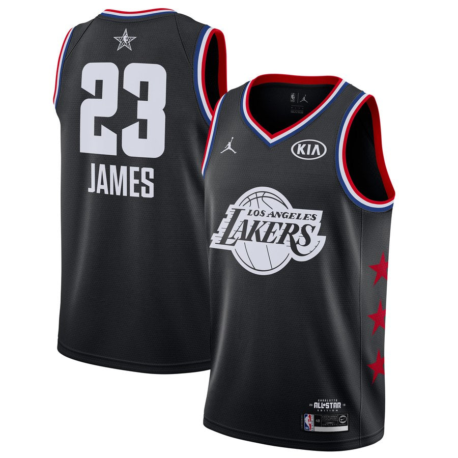 online retailer 876a7 73672 All star Jordan 2019 Los Angeles Lakers #23 LeBron James Basketball Jersey  Black