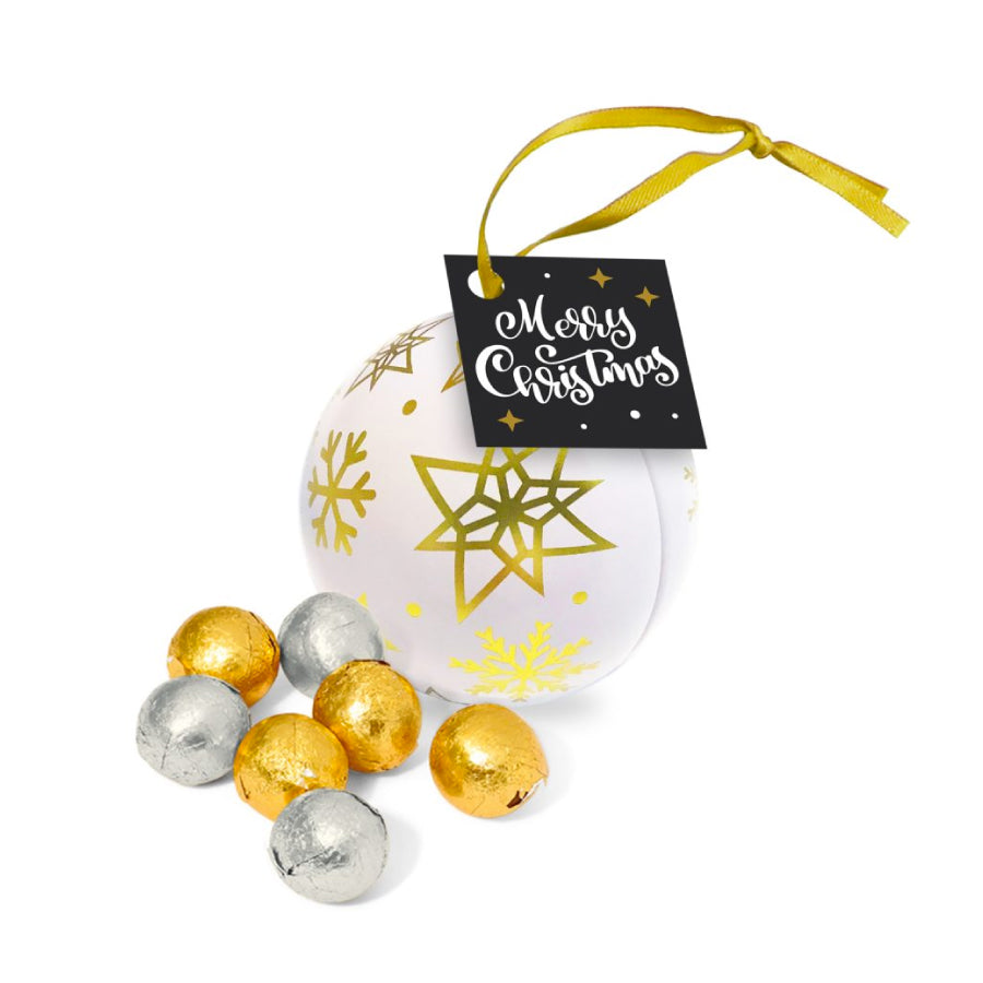 Foiled Chocolate Balls Bauble Tin