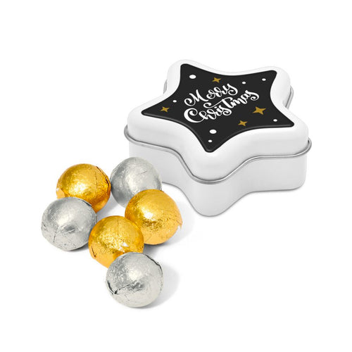 Foiled Chocolate Balls Star Tin