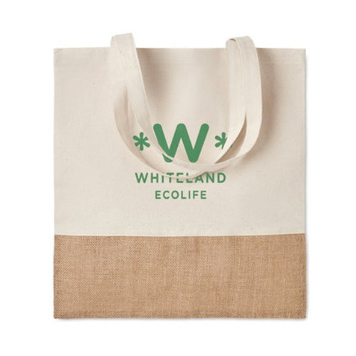 Cotton Tote Bag With Jute Detail