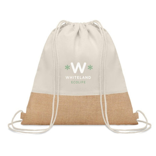 Cotton Drawstring Bag With Jute Detail