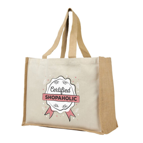 Varai Canvas and Jute Shopping Tote Bag