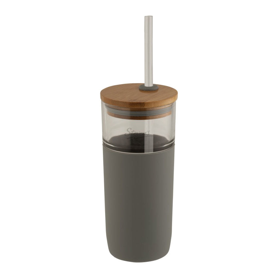 Arlo Glass Tumbler With Bamboo Lid 600ml