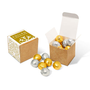 Foiled Chocolate Balls Eco Kraft Cube