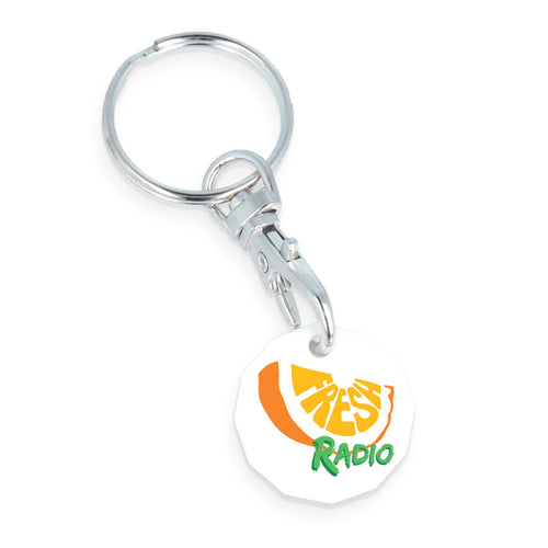 Eco Trolley Coin Keyring (White)